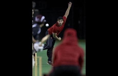 Northeastern University Cricket Club bowler Shail Jain in a match against Harvard last week.